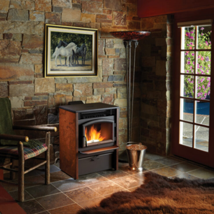 The AGP Pellet Stove offers all the benefits of wood heating plus fuel that is clean, compact and easy to use. This freestanding stove is ideal for heating any medium to large living space, giving off a radiant warmth for up to 2,000 square feet. The roaring flames are surrounded by a beautifully arched door that presents a timeless look and will accompany any personal style. The fire viewing area features a super-efficient airwash system to keep the glass clean.