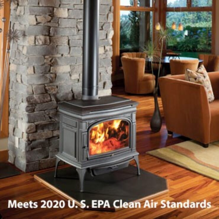 """The Cape Cod™ is Lopi's """"Super Stove"""", shattering all performance records for wood heat! Boasting an 76.6% overall efficiency and EPA 1.9 grams of emissions per hour in a 3 cubic foot firebox, the Cape Cod™ is one of the cleanest burning large wood stoves on the planet. This innovative game changer of a wood stove features a massive firebox and convection heat exchanger, all wrapped up and presented to you in an elegant package of cast iron beauty and durability."""