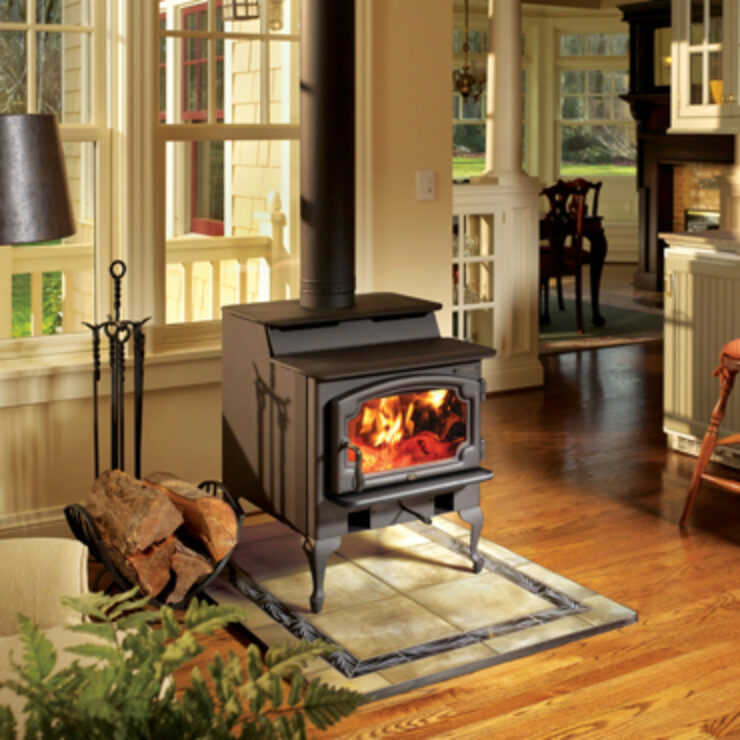 The Endeavor NexGen-Fyre™ is a true 'best in class' stove because it combines form and function with an unbeatable heat transfer system. This stove is ideal for heating medium to large homes and is one of the cleanest burning mid-sized wood stoves available. The Endeavor NexGen-Fyre™ features a 2.5 cubic foot firebox, along with an elegant door and large 165 square inch viewing area. In addition, the standard ash pan allows for simple clean up, while the bypass damper makes startups easy and prevents smoke-backs during reloading.