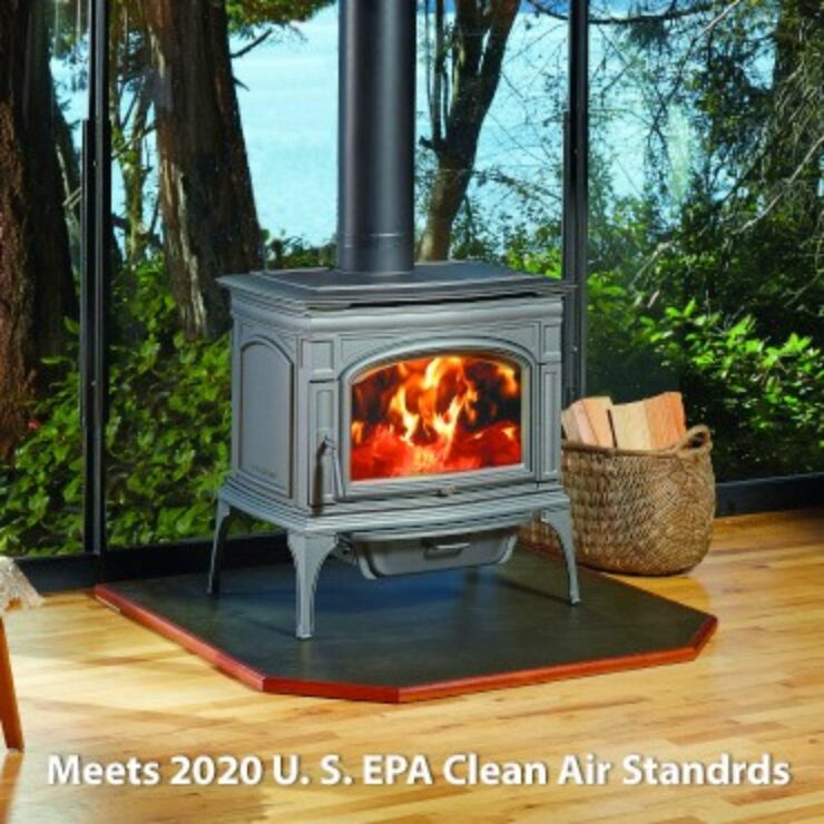 The Rockport™ by Lopi® combines beautiful European castings with optimum performance and solid construction to bring you the perfect mid-sized wood stove. Premium materials like iron, steel, real masonry brick and crystal clear ceramic glass are brought together in a fusion of classic elegance and durability designed to heat your home and family for years to come, even when the power goes out. The Rockport features Hybrid-Fyre® technology, making it one of the most efficient and cleanest burning wood stoves in the world!
