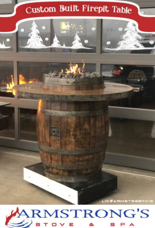 Check out our custom wine barrel firepit table