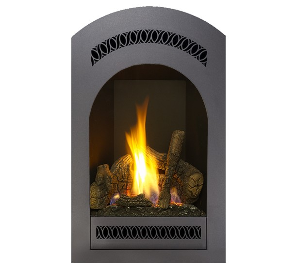 The Bed & Breakfast® Top or Rear Vent (TRV) Deluxe portrait-style gas fireplace is designed for intimate spaces such as bedrooms, bathrooms, and kitchens.