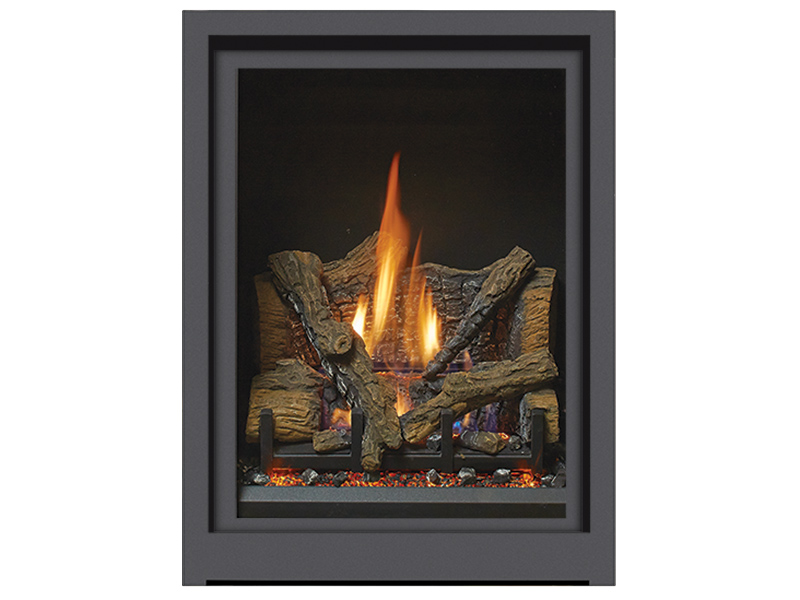 """As the smallest model in our lineup, the ProBuilder 24 Clean Face portrait-style fireplace is an excellent choice for intimate spaces in the home, such as bedrooms, bathrooms, and kitchens. The unique vertical profile and """"clean face"""" look of this top vent model complements all décor, while its zonal heating capabilities add comforting warmth to rooms not normally considered for fireplaces."""