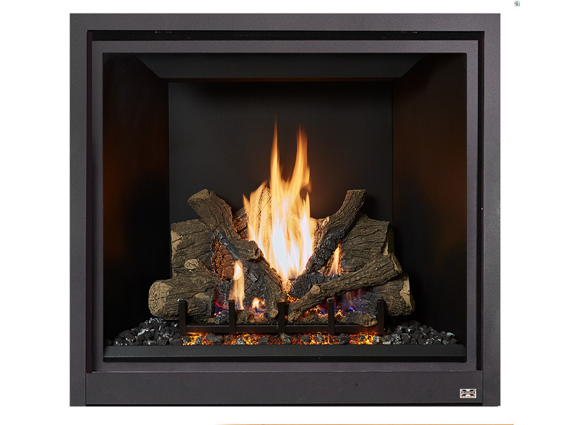 """The large ProBuilder 42 Clean Face is perfect for great rooms and grand spaces ready for a bold statement. This model replicates the look of a huge traditional masonry fireplace with its massive viewing area, sleek lines and """"clean face"""" design, all while providing excellent zonal warmth."""