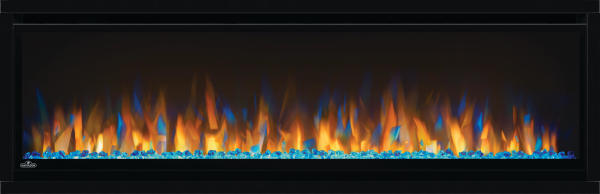 "See the fireplace, not the frame with Napoleon's Alluravision Series linear electric fireplaces. They stand out from the rest with their nearly frameless viewing area which highlights the unique flame colors. Set the mood with yellow, orange, blue and multi-color flames with the push of a button. Easy to use, these fireplaces are plug and play - just hang on the wall and plug them in. Nine models, five sizes available, 42, 50, 60 and 74 inch slim and deep models as well as a 100"" deep model."