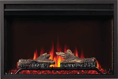 The Cineview Built-In Electric Fireplace is the ideal all-in-one unit and is available in two sizes. A self-trimming flange provides a clean look. The Cineview comes with logs and glass for easy customization. Select between three flame colors, seven ember bed colors, set the flame speed, and brightness. Enhance things with optional surrounds. Plug and play or hardwire, installation is easy. Heat medium-sized rooms with ease using ECO mode or BOOST mode.