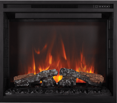 The Element™ Series self trimming electric fireplace is a builder special and a tradesman's dream. It features the highest heat output and best looking flame in its category, and a hardwire installation or plug and play option. Offering so much, from the impressive flame pattern, the glowing log set with ember bed and the addition of a top light with seven different color settings, it is as sure to create eco-friendly zone heating as it is to create a beautiful focal point.
