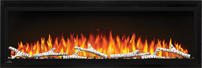 Make a statement with the Napoleon Entice™ 36 Electric Fireplace. This fireplace puts out an incredible amount of heat, glittering with multicolored flames and a crystal ember bed. You don't need a specialist or a gas fitter for this expansive beauty, just hang on the wall and plug in for instant transformation of your space.