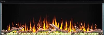 The Trivista™ 3-Sided Electric Fireplace Series boasts the highest heat output in its category. Showcase the fireplace with either the Northern Woods log set or acrylic crystals. They can also be combined for an amazing display. Effortlessly control all the features using the remote or the touch screen panel with motion proximity sensor. Enjoy Napoleon's Trivista™ Electric Fireplaces all year round with their ability to operate the luminous flames with or without heat.